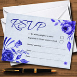 Pale Blue & White Watercolour Floral RSVP Cards