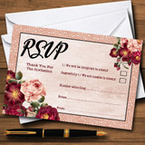 Coral Blush & Deep Red Watercolour Rose RSVP Cards