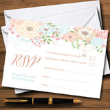 Coral Peach & Blue Watercolour Floral Header RSVP Cards