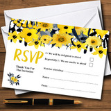 Black & Yellow Watercolour Flowers RSVP Cards