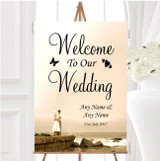 Romantic Couple On The Beach Personalised Any Wording Welcome Wedding Sign