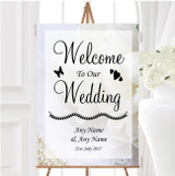 White Rose And Romantic Lace Personalised Any Wording Welcome Wedding Sign