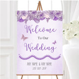 Cadbury Purple Lilac Watercolour Floral Personalised Welcome Wedding Sign
