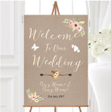 Rustic Vintage Watercolour Peach Floral Personalised Welcome Wedding Sign