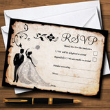 Black White Vintage Rustic Postcard RSVP Cards
