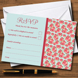 Blue And Coral Pink Floral Shabby Chic Chintz RSVP Cards