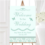 Pretty Mint Green Sage Floral Diamante Personalised Welcome Wedding Sign
