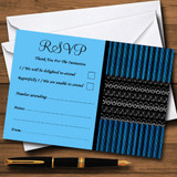 Blue Black Stripes Damask Vintage RSVP Cards