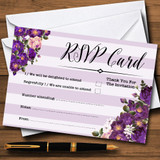 Cadbury Purple Rose & Stripes Vintage RSVP Cards