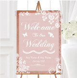 Rustic Blush Lace Personalised Any Wording Welcome To Our Wedding Sign