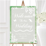 Rustic Green Lace Personalised Any Wording Welcome To Our Wedding Sign