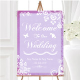 Rustic Lilac Lace Personalised Any Wording Welcome To Our Wedding Sign