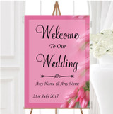 Warm Pink Flowers Personalised Any Wording Welcome To Our Wedding Sign