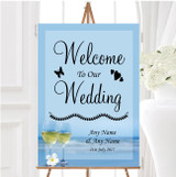 Wine On The Beach Personalised Any Wording Welcome To Our Wedding Sign