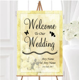 Yellow Cream Lace Personalised Any Wording Welcome To Our Wedding Sign