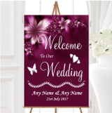 Beautiful Purple Personalised Any Wording Welcome To Our Wedding Sign