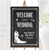 Chalkboard White Personalised Any Wording Welcome To Our Wedding Sign