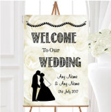 Cream Roses Chic Personalised Any Wording Welcome To Our Wedding Sign