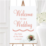 Peach Coral Rose Personalised Any Wording Welcome To Our Wedding Sign