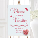 Pink Heart Roses Personalised Any Wording Welcome To Our Wedding Sign