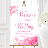 Pink Rose Petals Personalised Any Wording Welcome To Our Wedding Sign