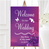 Purple Pink Lily Personalised Any Wording Welcome To Our Wedding Sign