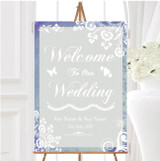 Rustic Blue Lace Personalised Any Wording Welcome To Our Wedding Sign