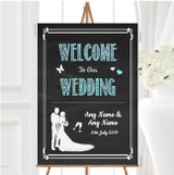 Chalkboard Aqua Personalised Any Wording Welcome To Our Wedding Sign
