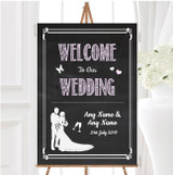 Chalkboard Pink Personalised Any Wording Welcome To Our Wedding Sign