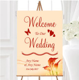 Red Orange Lily Personalised Any Wording Welcome To Our Wedding Sign