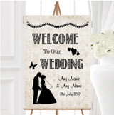 Damask Chic Personalised Any Wording Welcome To Our Wedding Sign