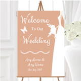 Peach Bride Personalised Any Wording Welcome To Our Wedding Sign