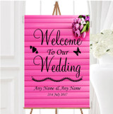 Pink Tulips Personalised Any Wording Welcome To Our Wedding Sign