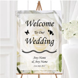 White Rose Personalised Any Wording Welcome To Our Wedding Sign