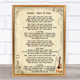 Blondie Heart Of Glass Song Lyric Quote Print