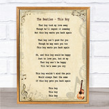 The Beatles This Boy Song Lyric Quote Print