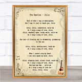 The Beatles Julia Song Lyric Quote Print
