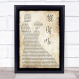 John Legend All Of Me Song Lyric Man Lady Dancing Quote Print