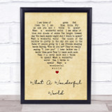 What A Wonderful World Louis Armstrong Vintage Heart Song Lyric Quote Print