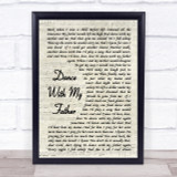 Dance With My Father Luther Vandross Song Lyric Vintage Script Quote Print
