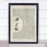 All Of Me John Legend Song Lyric Vintage Script Quote Print