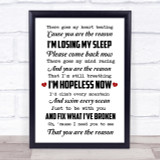 You Are The Reason Calum Scott Song Lyric Quote Print