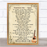Fleetwood Mac Gypsy Song Lyric Vintage Quote Print