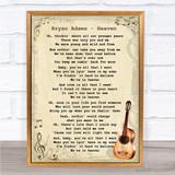 Bryan Adams Heaven Song Lyric Vintage Quote Print