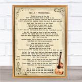Oasis Wonderwall Song Lyric Vintage Quote Print