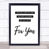 Coldplay Fix You Song Lyric Quote Print
