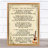 John Lennon (Just Like) Starting Over Song Lyric Vintage Quote Print