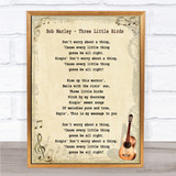 Bob Marley Three Little Birds Song Lyric Vintage Quote Print