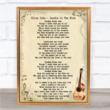 Elton John Candle In The Wind Song Lyric Vintage Quote Print