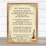UB40 Bring Me Your Cup Song Lyric Vintage Quote Print